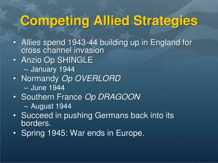 Competing Allied Strategies