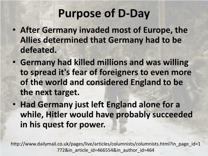 Purpose of D-Day