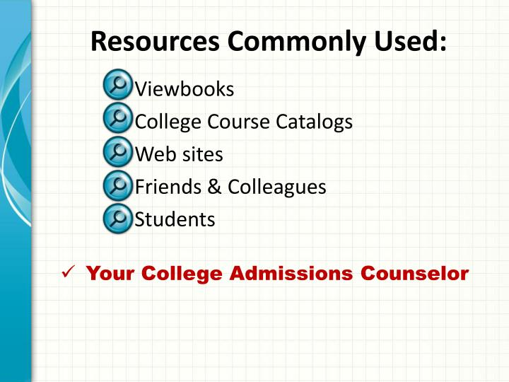 Resources Commonly Used: