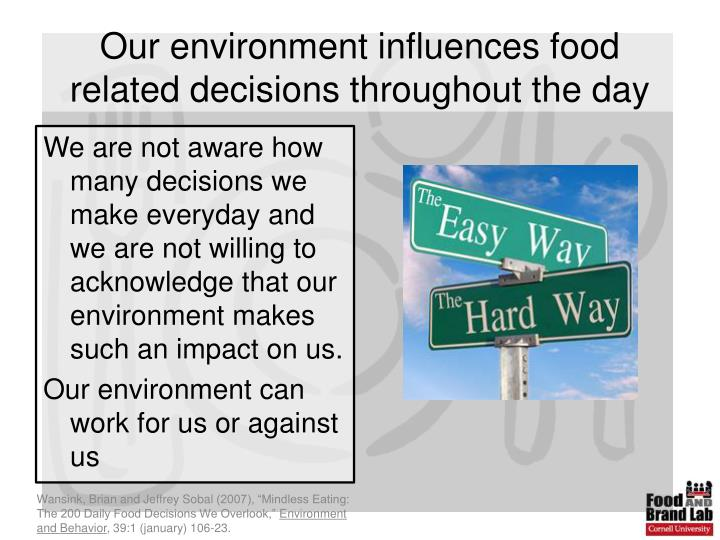 Our environment influences food related decisions throughout the day