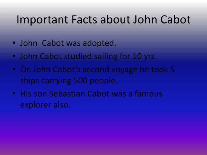 Important Facts about John Cabot