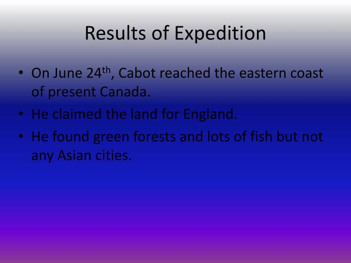 Results of Expedition