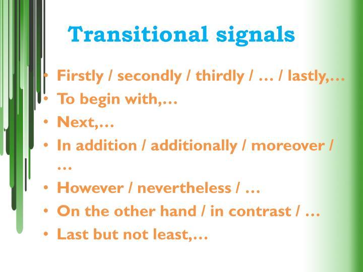 Transitional signals