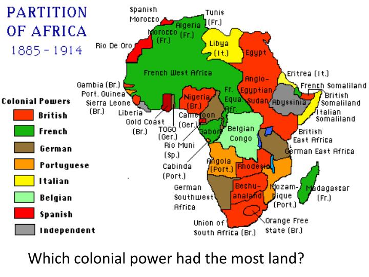 Which colonial power had the most land?