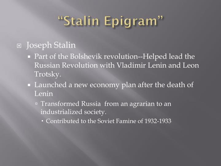 """Stalin Epigram"""