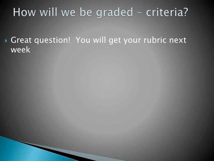 How will we be graded – criteria?