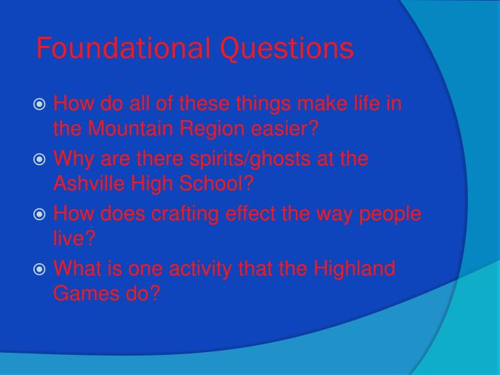 Foundational Questions