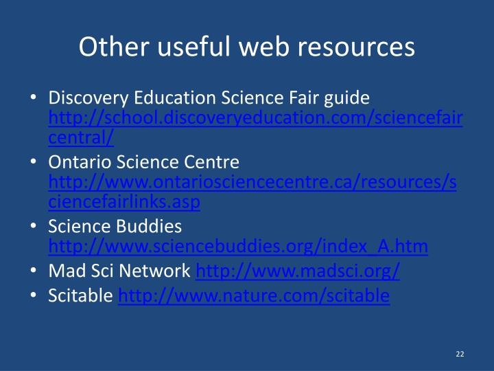 Other useful web resources