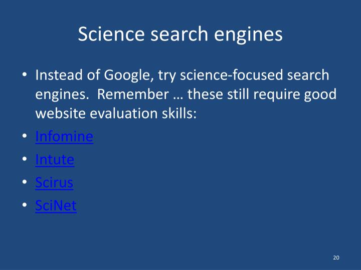 Science search engines