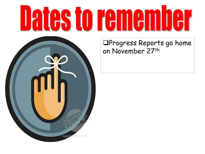 Dates to remember