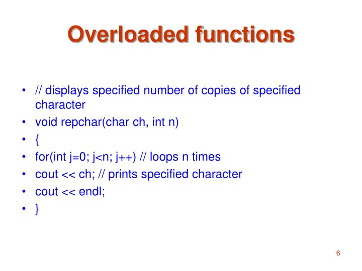Overloaded functions
