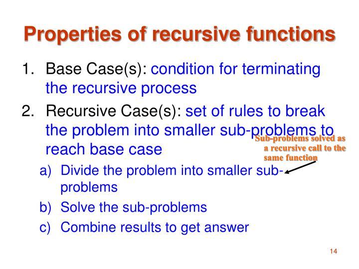Properties of recursive functions