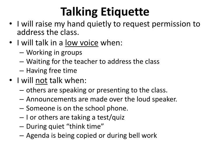 Talking Etiquette