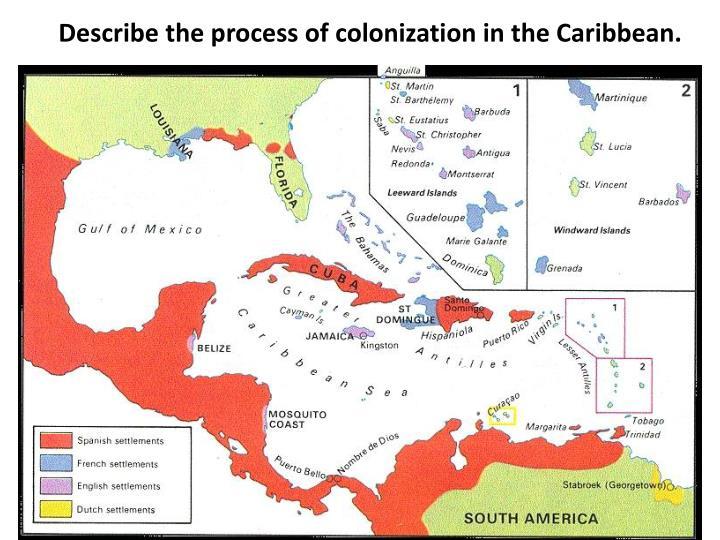 Describe the process of colonization in the Caribbean.