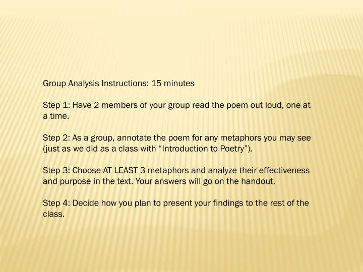 Group Analysis Instructions: 15 minutes