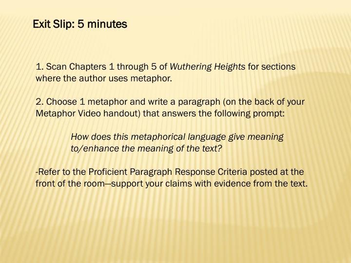 Exit Slip: 5 minutes
