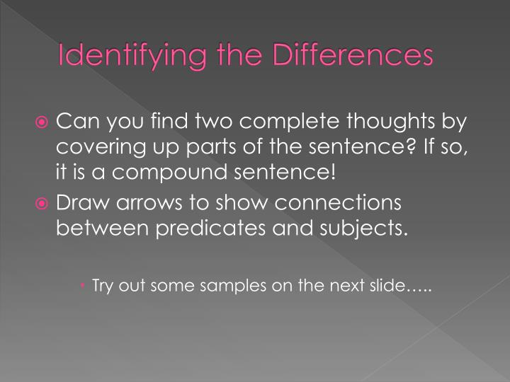 Identifying the Differences