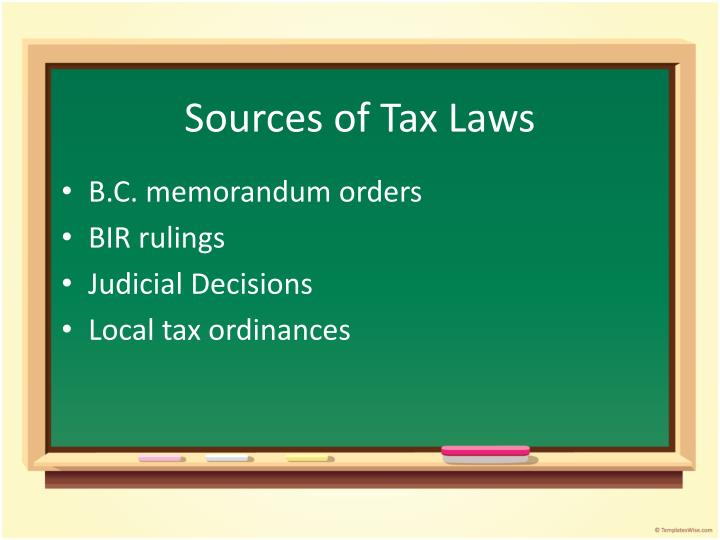 Sources of Tax Laws