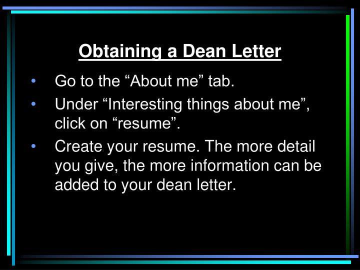 Obtaining a Dean Letter