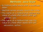 methods java style
