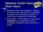 nonterm credit hours clock hours