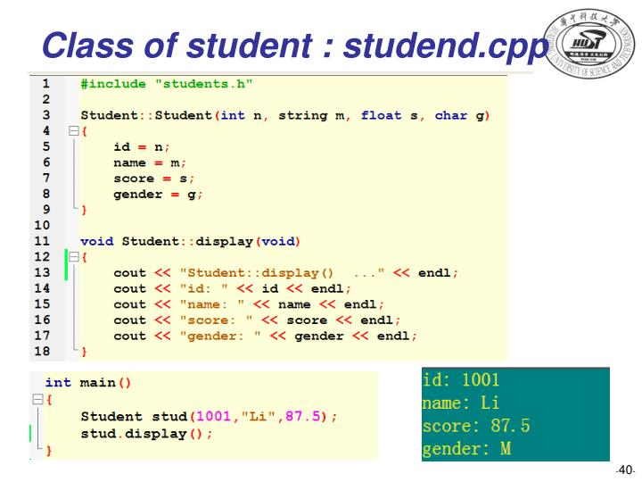 Class of student : studend.cpp