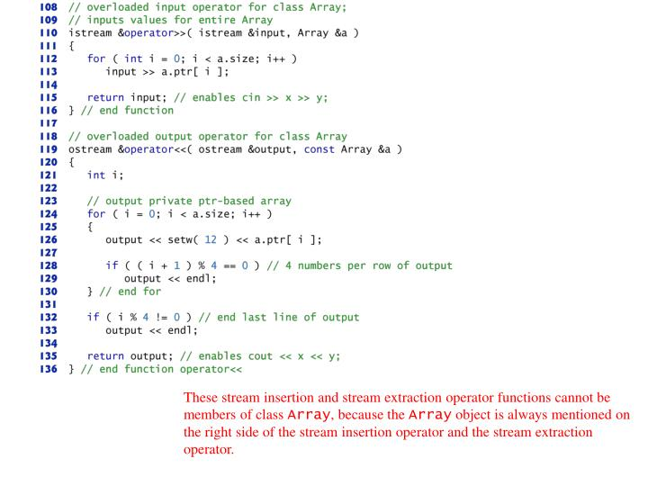 These stream insertion and stream extraction operator functions cannot be members of class