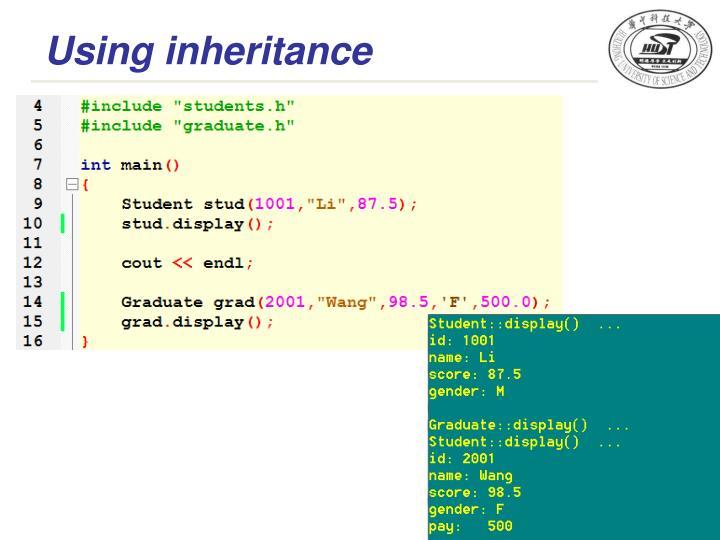 Using inheritance