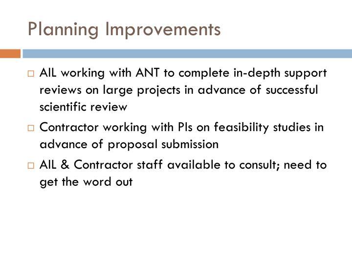 Planning Improvements