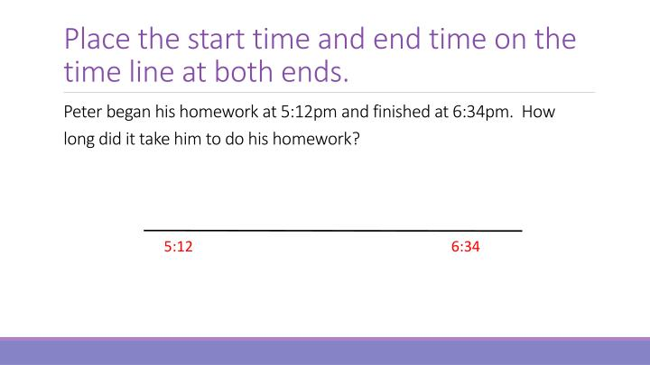Place the start time and end time on the time line at both ends.
