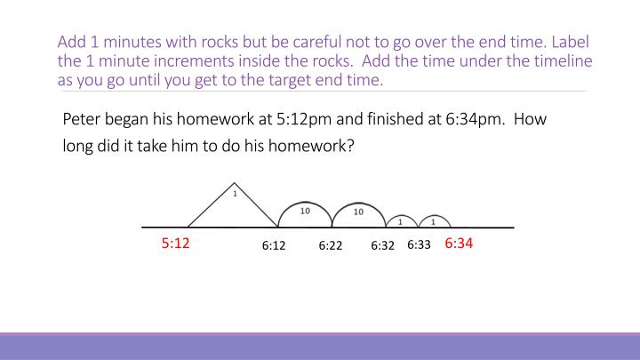 Add 1 minutes with rocks but be careful not to go over the end time. Label the 1 minute increments inside the rocks.  Add the time under the timeline as you go until you get to the target end time.