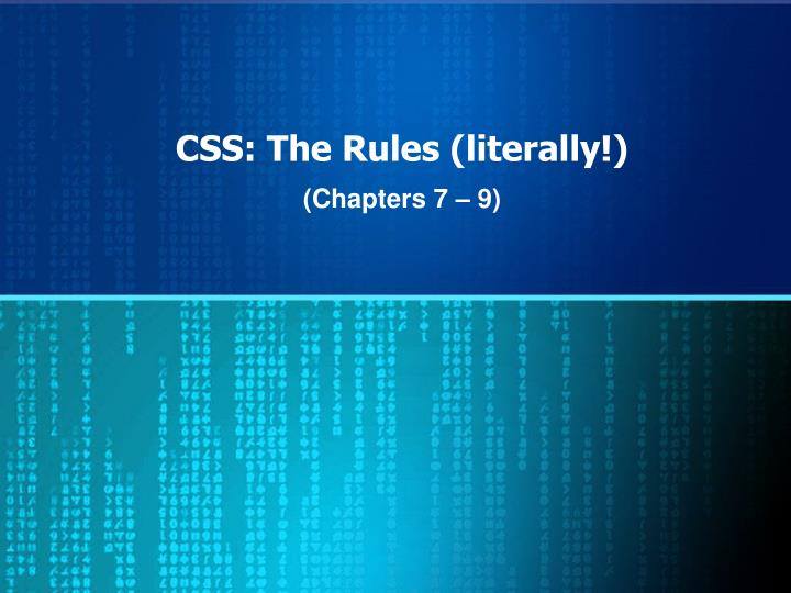 css the rules literally