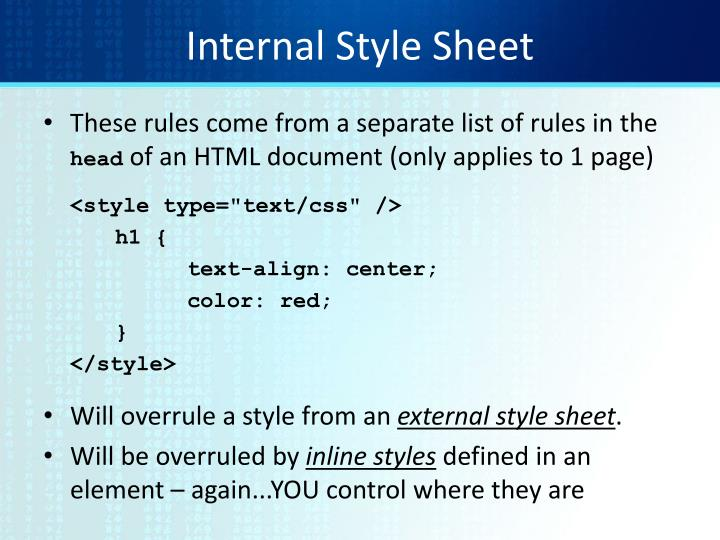 Internal Style Sheet