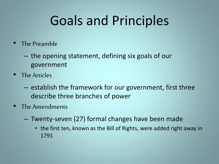 Goals and Principles