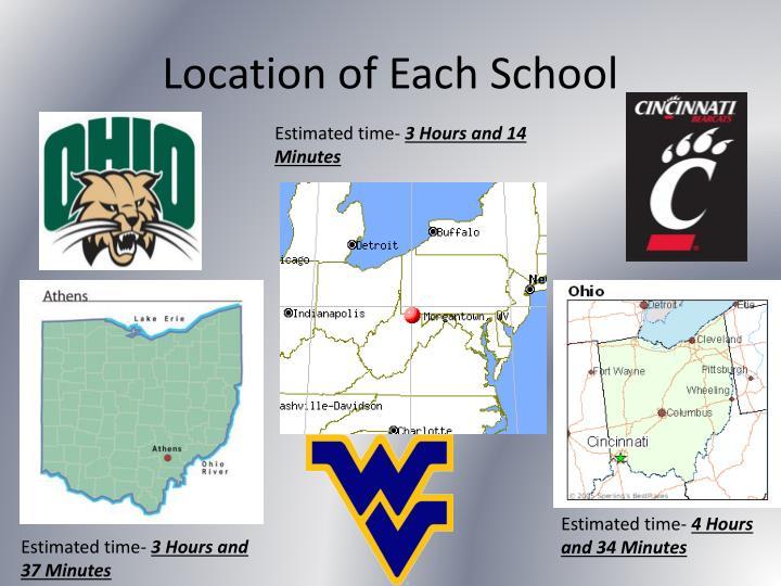 Location of Each School