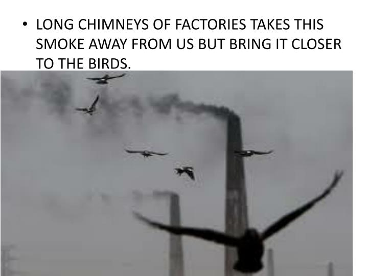 LONG CHIMNEYS OF FACTORIES TAKES THIS SMOKE AWAY FROM US BUT BRING IT CLOSER TO THE BIRDS.