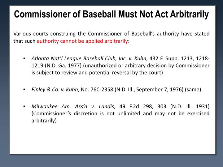 Commissioner of Baseball Must Not Act Arbitrarily