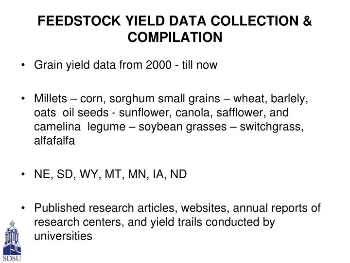 FEEDSTOCK YIELD DATA COLLECTION & COMPILATION