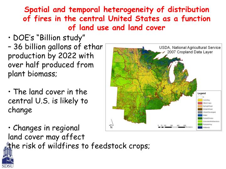Spatial and temporal heterogeneity of distribution of fires in the central United States as a function of land use and land cover