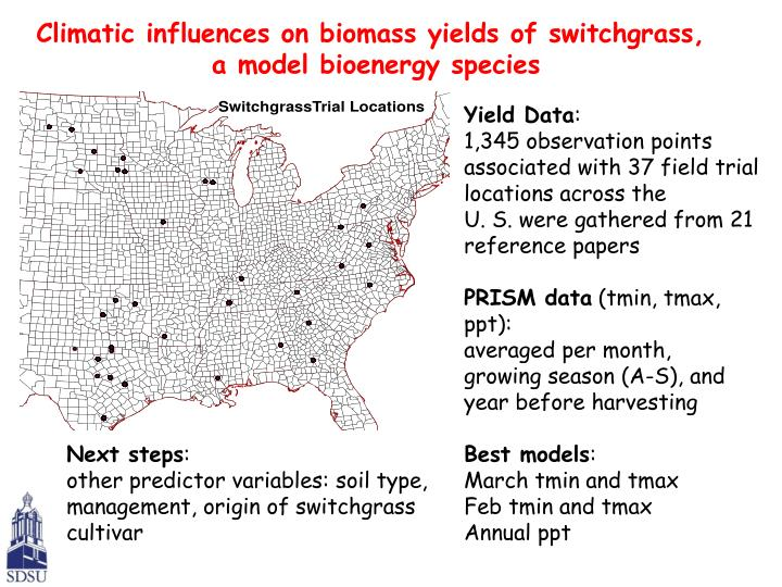 Climatic influences on biomass yields of switchgrass,