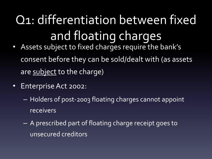 Q1: differentiation between fixed and