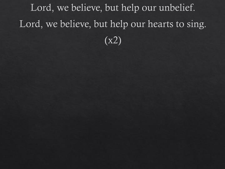 Lord, we believe, but help our unbelief.