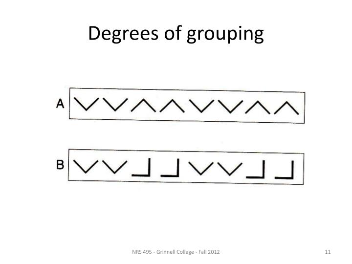 Degrees of grouping