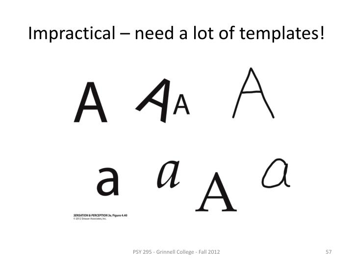 Impractical – need a lot of templates!