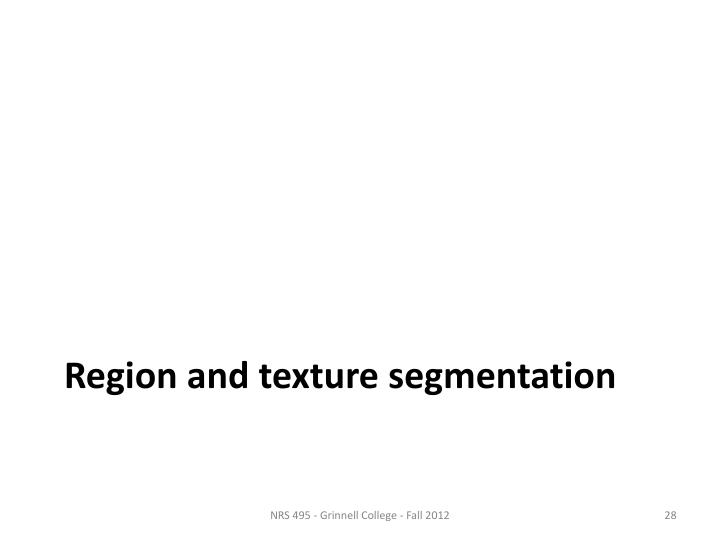 Region and texture segmentation