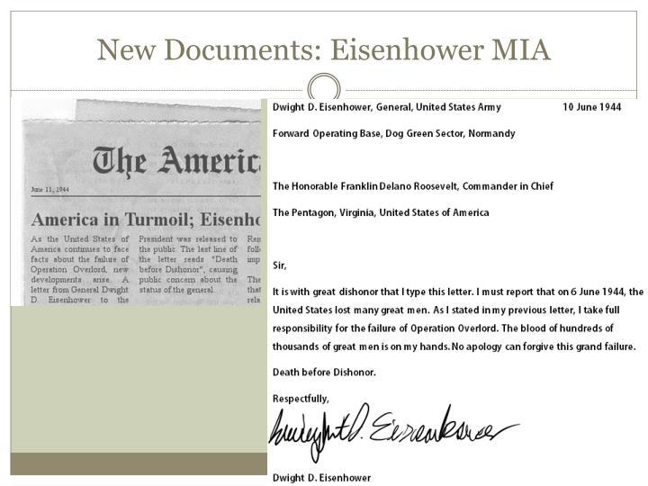 New Documents: Eisenhower MIA