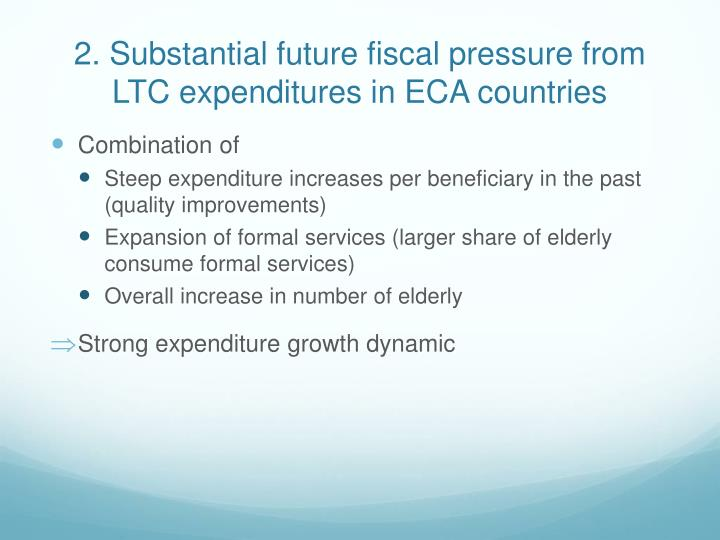 2. Substantial future fiscal pressure from LTC expenditures in ECA countries