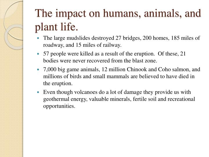 The impact on humans, animals, and plant life.