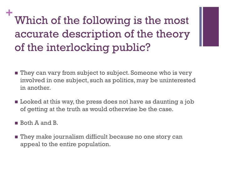Which of the following is the most accurate description of the theory of the interlocking public?