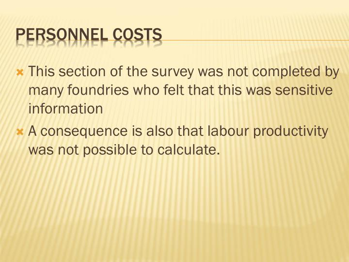 This section of the survey was not completed by many foundries who felt that this was sensitive information